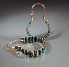 Hand Forged Copper Convex Earrings CPE68 by studiovdesigns on Etsy, $18.00
