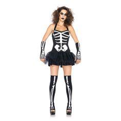 Binnenkort een griezel of Halloween feest? In dit kostuum val je zeker op, ook in het donker! Driedelig kostuum met tutu jurk met glow in the dark botten, vingerloze handschoenen en bijpassende kousen. Spannend en uitdagend!Materiaal: 100% polyester.