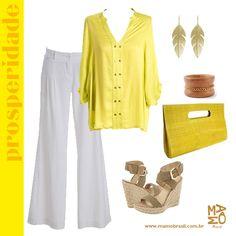 Amarelo da Prosperidade e do $$!  Dica: Camisa Amarela e Calça de Linho Branca da Mamô