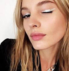 A new way to add a pop of metallic to your winged eyeliner look.