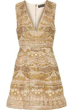Alice + Olivia | Patty embellished silk-chiffon mini dress | NET-A-PORTER.COM
