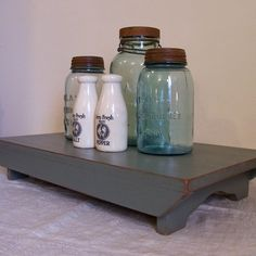 Olde Sage Table Riser Bench / Primitive Farmhouse Kitchen Collectible / Color Choice