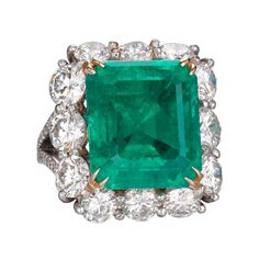 A Colombian Emerald, Diamond and Platinum Ring