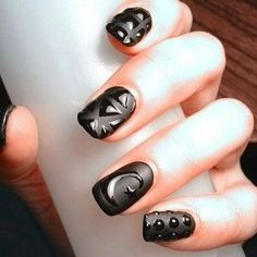 GLOSSY? MATTE? HOW DO YOU LIKE THEM BETTER?  #black #mattenails #chic - bellashoot.com