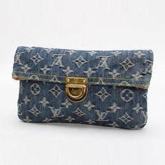 Louis Vuitton Pochett Platt  Monogram Denim Clutches Blue Denim M95007