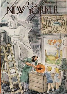 The New Yorker Magazine cover - November, c.1947. A sculptor in his shop, carving a pumpkin. ~ {cwl}