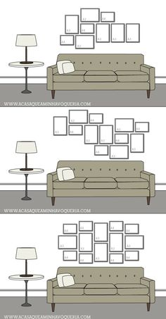 New Wall Frames Couch Picture Arrangements Ideas Picture Arrangements, Photo Arrangement, Wall Design, House Design, Design Design, Gallery Wall Layout, Gallery Walls, Art Gallery, Frames On Wall