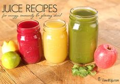 3 Juice Recipes for Energy, Immunity Glowing Skin! 3 Juice Recipes for Energy, I Green Juice Recipes, Healthy Juice Recipes, Juicer Recipes, Healthy Juices, Healthy Drinks, Stay Healthy, Detox Juices, Cleanse Recipes, Salad Recipes
