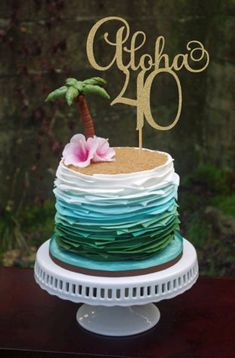Check out this super fun tropical cake. We love it for a Disney inspired Moana themed birthday party! Check out this super fun tropical cake. We love it for a Disney inspired Moana themed birthday party! Luau Cakes, Beach Cakes, Beach Themed Cakes, Ocean Cakes, Pool Party Cakes, Pool Cake, Cake Party, Aloha Party, Hawaiian Party Cake
