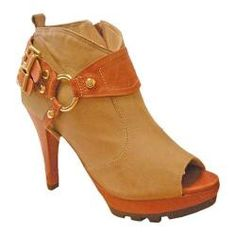 """@Overstock - Women's Bruno Menegatti 1675704 Tan/Brick - This is an exotic peep-toe bootie featuring a comfortable lining and luxurious tan leather that matches perfectly with the clay colored platform, heels and details. A rugged rubber sole ties in perfectly with the """"riding"""" style details!.    http://www.overstock.com/Clothing-Shoes/Womens-Bruno-Menegatti-1675704-Tan-Brick/7331239/product.html?CID=214117  $149.95"""