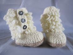 Baby Girl Boots Crochet Booties Loopy Furry cream by AlfieJayne, Baby Girl Crochet, Cute Crochet, Baby Girl Boots, Vintage Trailers, Cute Shoes, Photo Props, My Etsy Shop, Booty, Knitting