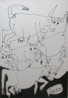Buy cows and bulls  drawing on canvas  27,5 x 39,4 inch, Acrylic painting by Max  Müller on Artfinder. Discover thousands of other original paintings, prints, sculptures and photography from independent artists.