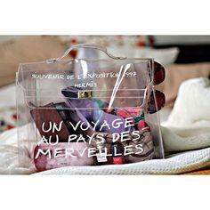 Authentic HERMES Clear Vinyl ORANGE Kelly 40 Hand Bag SOUVENIR DE ...