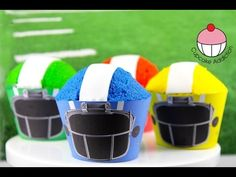 Superbowl Cupcakes! How To Make Simple Football Helmet Cupcakes - Learn how to make these delicious treats, and heaps more at Mycupcakeaddiction!
