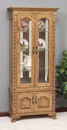 Amish Furniture Oak Cherry Curio Cabinets