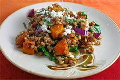 Roasted Butternut Squash Farro Salad. If you haven't tried farro yet (a Mediterranean grain) it is unbelievable. Chewy and filling. Can't wait to try this