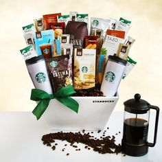 Packed with a very impressive collection of Starbucks teas and coffees, send this impressive gift to your favorite coffee lover. Featuring two Starbucks logo tr