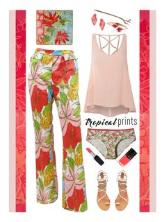 """""""Hot Tropics'"""" by dianefantasy ❤ liked on Polyvore featuring Certified International, Kate Spade, Patagonia, John Galliano, Glamorous, LVX, Pluie, Isadora, polyvorecommunity and tropicalprints"""