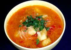 Hungarian Soup. Ingredients: • 400 gr. sauerkraut (or fresh, but in this case with a little vinegar tartness) • 4 potatoes • 1 tablespoon oil • 1 small onion • 1 tablespoon cumin and 1 l-ta. sweet paprika if you do not reconciled with cumin • 1 large tomato diced • 1 clove of garlic • 1 bay leaf • 700 ml of water or vegetable broth • salt