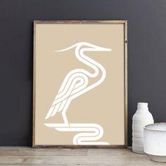 Elegant bird-heron wall art geometric giclee print by TheLuckyDodo