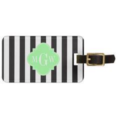 Black White Stripe Mint Grn Quatrefoil 3 Monogram Bag Tag