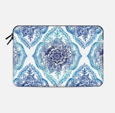 Detailed Blue Ink Doodle Pattern Macbook Sleeve for Macbook Pro 15 - Get $10 off your first purchase using this code: 6SP8GR - #casetify #freeshipping #micklyn