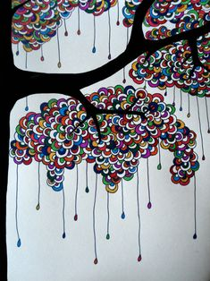 tree - I like the color and the dangles, it looks like rain dripping