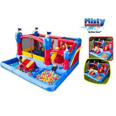 Misty Kingdom Bouncer, Ball Pit       The Misty Kingdom is the Coolest bounce house around! It's a Bounce House, Slide, Water Park and Ball pit all in one. This inflatable can be used wet or dry, and offers everything kiddies love!
