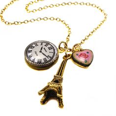 Eiffel Tower Enamel Heart Necklace, EllaBellaBee got me this for Christmas!