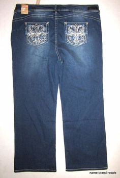 WALLFLOWER NWT Bootcut Jeans Womens PLUS 24 LUSCIOUS CURVY Rhinestone BLING NEW #Wallflower #BootCut
