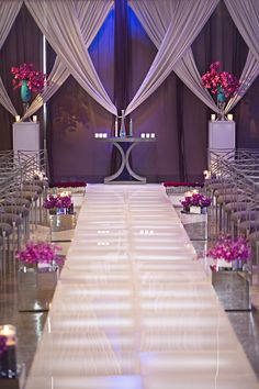 The Perfect Palette is a wedding resource dedicated to helping couples find the perfect color palette for their wedding day. Wedding Altars, Wedding Ceremony Decorations, Marriage Decoration, Aisle Decorations, Festa Party, Purple Wedding, Wedding Flowers, Event Decor, Event Planning