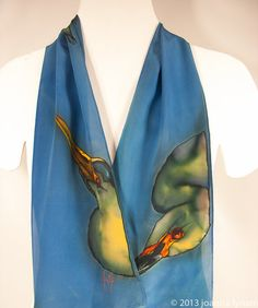 Heron Silk Scarf. 8 x 52. Free gift wrapping. Hand by SirenSilks, $79.00