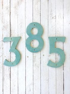 House Numbers, Numbers, Ceramic, Handmade, Wall Plaque, Antique Jade, Outdoor, Housewarming Gift, Table Numbers by PetitePotteryMarket on Etsy https://www.etsy.com/listing/250809271/house-numbers-numbers-ceramic-handmade
