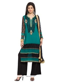 Glossy Georgette Embroidered Work Readymade Suit Model: YOS7852