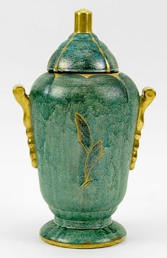 "Josef Ekberg (Swedish, An Urn. Mottled blue green glaze with stepped gold handles and gold finial. Body of urn bears applied organic decoration. Underside is signed ""Gustavsberg"" and ""Ekberg N H: Toshiko Takaezu, Art Nouveau, Art Deco, Clarice Cliff, Royal Doulton, Ceramic Artists, Urn, Pottery Art, Stoneware"