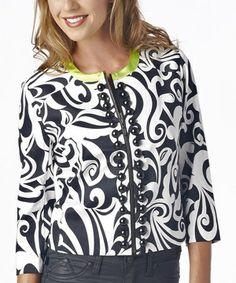 Look at this #zulilyfind! Luii Black & White Floral Blazer by Luii #zulilyfinds
