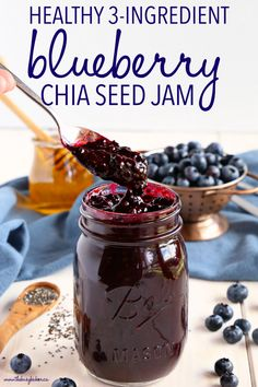 Chia Seed Blueberry Jam is a great healthy alternative to conventional jam! It's made with 3 healthy, natural, whole-food ingredients and it's quick and easy to make! Recipe from !This Healthy Chia Seed Blueberry Jam is a great healthy alternative to Jam Recipes, Canning Recipes, Gourmet Recipes, Whole Food Recipes, Healthy Recipes, Healthy Meals, Jelly Recipes, Recipes With Chia Seeds, Keto Chia Seed Recipes
