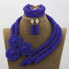 Best Selling Royal Blue Crystal Bridal Nigerian Beads Jewelry Sets Flowers Chunky African Blue Beads Jewelry  Whatsapp: 008613691301343