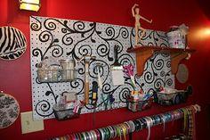 Craft room paint storage pegboard organization new Ideas Craft Paper Storage, Paint Storage, Sewing Room Design, Craft Room Design, Sewing Desk, Sewing Rooms, Diy Peg Board, Peg Boards, Pegboard Organization