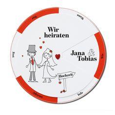 Lustige Hochzeitskarten in einem ausgefallen Design. Fröhliches Design auf schimmernden Premiumkarton. Festlich mit einem Augenzwinkern....