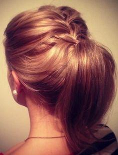 Ponytails for shorter hair.  Ponytail updo for medium short hair.