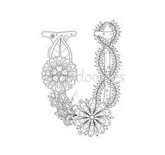 Malseite zum Ausdrucken  Buchstabe U  floral von Fleurdoodles