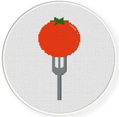 FREE for Jan 3rd 2015 Only - Tomato Fork Cross Stitch Pattern