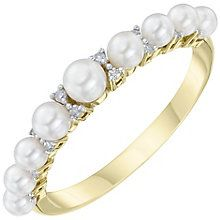 9ct Gold Cultured Freshwater Pearl & Diamond Eternity Ring - Product number 6046495