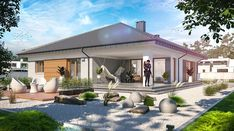 Fabian 2 - zdjęcie 3 Bungalow, My House Plans, Facade House, Gazebo, New Homes, Outdoor Structures, Mansions, House Styles, Outdoor Decor