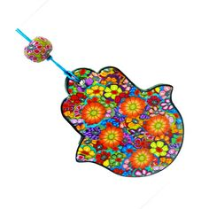 Hamsa wall hanging This colorful handmade Hamsa is made of polymer clay The base is millfiori flower cane The Hamsa measures: Width approx.: 9 cm (3.54)