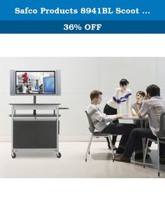 """Safco Products 8941BL Scoot Flat Panel Multimedia Cart, Black. Scoot Multimedia 68""""H Cart is an economical way to move your flat-panel monitor and other equipment safely and securely. Post height adjusts in 1 1/2"""" increments in 7 1/2"""" range and holds up to 42"""" monitors or 80 lbs. Features a detachable, height adjustable file pocket. Secure locking cabinet with 2 doors. Includes UL approved electrical assembly with surge protector. Steel frame construction with durable powder coat finish..."""