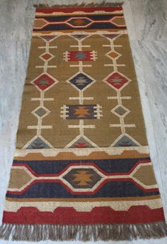 Handmade Vintage Kilim Rug Wool Jute Runner Kilim Carpet Dhurrie Turkish Area   #Turkish