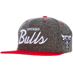 c0e959cd9ea Chicago Bulls Red and Speckled Grey Script Logo Snapback by Mitchell  amp   Ness  Chicago