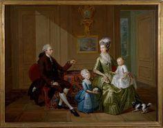 Portretgroep van een juweliersfamilie (1776) Louis François Gerard van der Puyl. Olieverf op koper. Inventarisnummer 10242. Beautiful green silk gown.